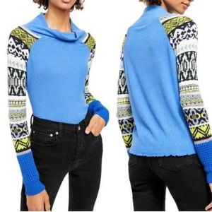 Free People Blue Bell Combo Prism Swit Sweater